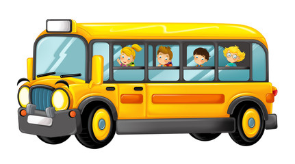 funny looking cartoon yellow school bus with kids - illustration for children