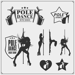 Set of strip plastic and pole dance emblems, labels and design elements. Girls on the pole.