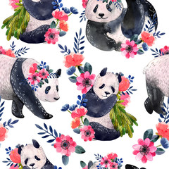 Watercolor seamless pattern with pandas and flowers isolated on a white background. Watercolor illustration.