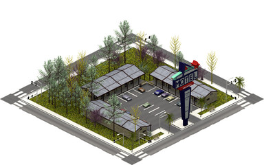 Isometric city buildings, Drive in motel. 3D rendering