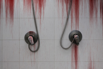 Bloody background scary with drops water on the shower valve handle for swimming pool, concept of horror and Halloween