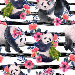 Watercolor seamless pattern with pandas and flowers isolated on a white background. Black stripes on the background. Watercolor illustration.