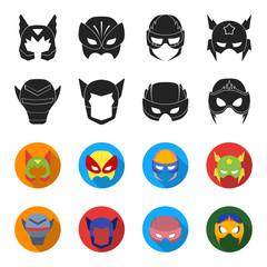 Helmet, mask on the head.Mask super hero set collection icons in black,flet style vector symbol stock illustration web.