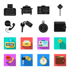 Handset with the inscription of a taxi, car keys with a key fob, a stopwatch with a fare, a purse with money, dollars. Taxi set collection icons in black,flet style vector symbol stock illustration