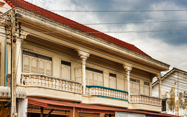 French colonial Building in Savennakhet , Laos.