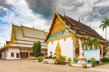 Buddhist temple called  Wat Luang in Pakse, Laos.