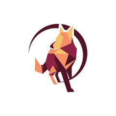 Abstract Fox Wolf Standing Logo Symbol