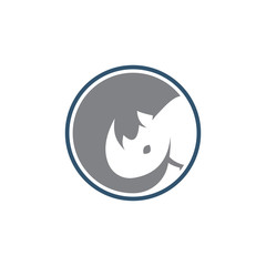 Abstract Rhinoceros in Circle Logo Icon
