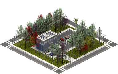 Isometric city buildings, modern building. 3D rendering