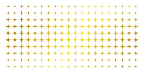 Space star icon golden halftone pattern. Vector space star items are arranged into halftone matrix with inclined golden gradient. Designed for backgrounds, covers, templates and abstract effects. Fotoväggar
