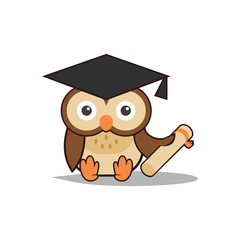 Cute Smart Scholar Owl Holding a Scroll