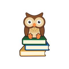 Cute Wise Owl Sitting on Books