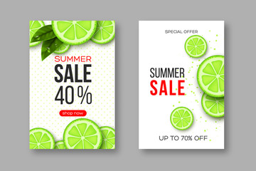 Summer sale banners with sliced lime pieces, leaves and dotted pattern. White background - template for seasonal discounts, vector illustration.