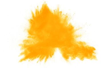 Yellow powder explosion on white background. Fototapete