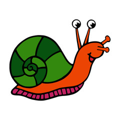 Snail cartoon illustration isolated on white background for children color book