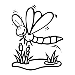 Dragonfly cartoon illustration isolated on white background for children color book