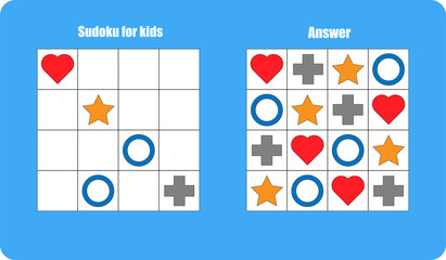 Sudoku game with pictures (colorful geometric shapes) for children, easy level, education game for kids, preschool worksheet activity, task for the development of logical thinking, vector illustration