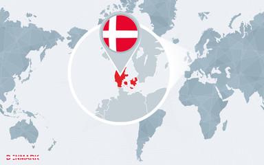 Foto op Plexiglas Wereldkaart World map centered on America with magnified Denmark.