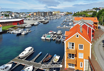 View over the harbor of the city Haugesund in Norway