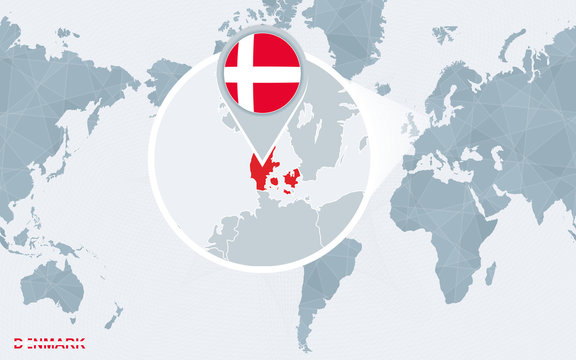 World map centered on America with magnified Denmark.