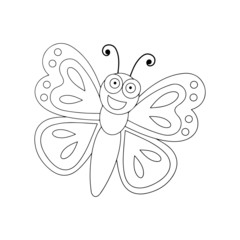 Butterfly cartoon illustration isolated on white background for children color book