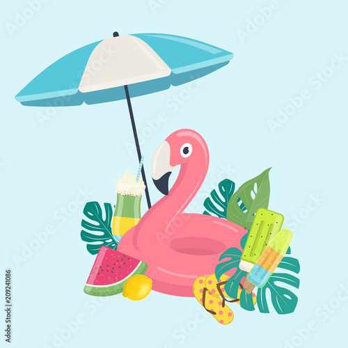 summer beach template with pink flamingo inflatable pool float