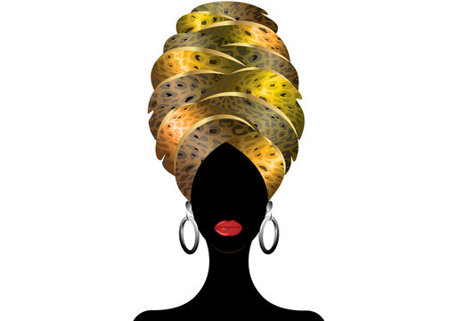 Portrait of the young black woman in a turban. Animation African beauty. Vector color illustration isolated. Traditional Kente head wrap African. Leopard color pattern headscarf. Hairstyle concept