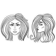 Front and side view of woman face with beautiful hair. Black and white vector illustration.