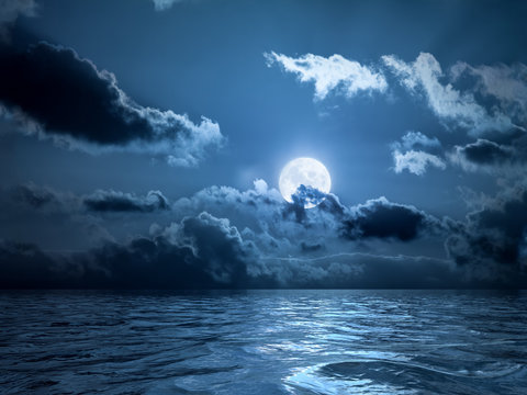 Full moon over the ocean