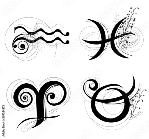 Letter Horoscope or zodiac symbol are Aquarius Pisces Aries and