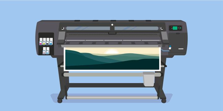 Large format full color latex printer plotter. Vector illustration