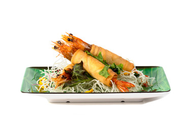 Fried Shrimps wrapped and crispy fried noodles on white background