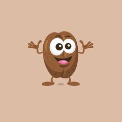 Illustration of cute decisive coffe bean mascot isolated on light background. Flat design style for your mascot branding.