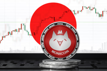 MonaCoin (MONA): Japan's first native cryptocurrency; monacoin with the flag of JAPAN on the background of the chart