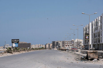 General view of an empty street after forces loyal to Libyan commander Khalifa Haftar took control of the area, in Derna