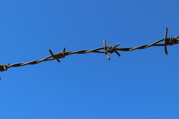 Rusty Barbed Wire Fence in Clear Blue Sky Background