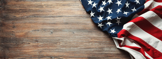 United States Flag On Wooden Background Fotomurales