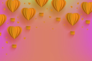 Background template with papercut orange air balloons. Modern origami paper flying objects and space for text. Vector backdrop, wallpaper illustration