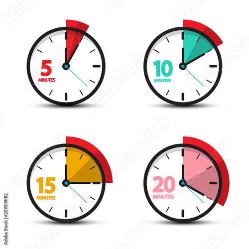 5, 10, 15, 20 Minutes Analog Clock Icons  Vector Time Symbol