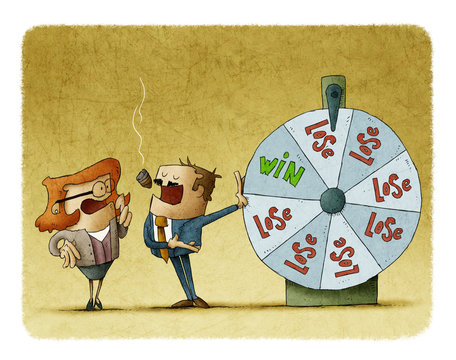 businessman and business woman with a roulette of fortune. risk concept