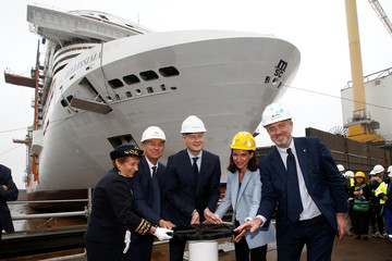 Officials attend ceremony of the MSC Bellissiam crusis ship at the STX France shipyard site in Saint-Nazaire