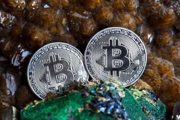 Silver bitcoin in the stone