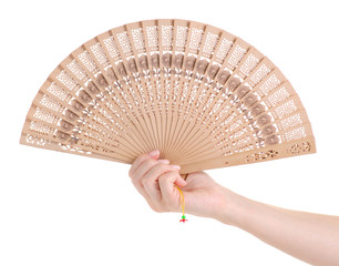 Bamboo fan in hand air on white background isolation