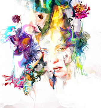 Beautiful female portrait with flowers and vibrant colors