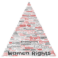 Vector conceptual women rights, equality, free-will triangle arrow red word cloud isolated background. Collage of feminism, empowerment,  opportunities, awareness, courage, education, respect concept