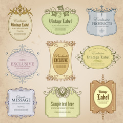 Collection of vintage labels in color - vector design