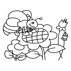 Bee cartoon illustration isolated on white background for children color book