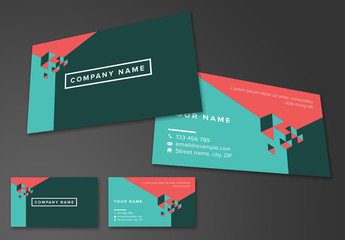 Business Card Layout with Geometric Accents