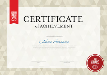 Red and White Certificate Layout