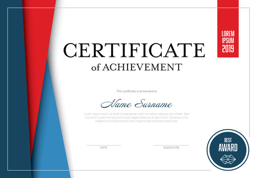Blue and Red Certificate Layout